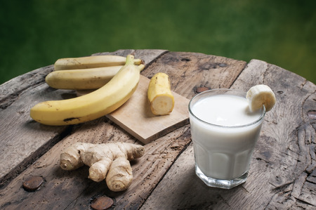 Banana Smoothie on a wooden table