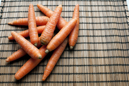 radicals: Carrots are an excellent source of beta-carotene, an antioxidant very effective in combating free radicals with copy space Stock Photo