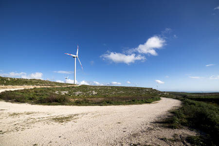 windfarms: wind turbine to generate electricity symbol of renewable energy Stock Photo