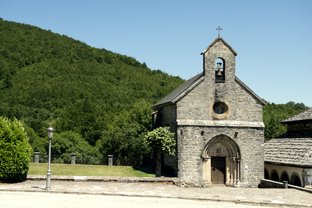 st jamess: Gothic Chapel Santiago or los Pelegrinos in Roncevaux village, on St. Jamess Way Navarre Basque country, Spain