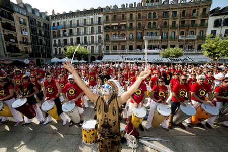 frequented: Spain Navarra Pamplona 10 July 2015 S Firmino band playing drums in front of the famous cafe IRUNA frequented by Hemingway Spanish school of samba fortaleza