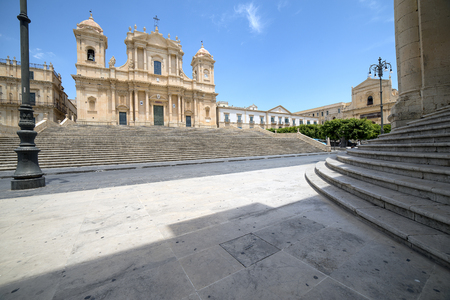 saint nicholas: view of the baroque cathedral of Saint Nicholas, in Noto, Sicily Stock Photo