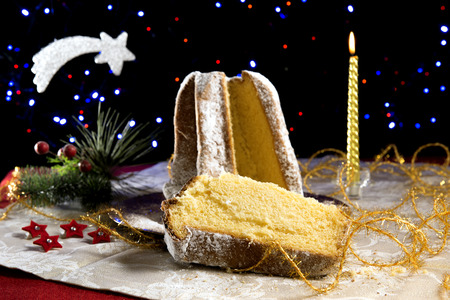 Pandoro cake and champagne Christmas  mood for party
