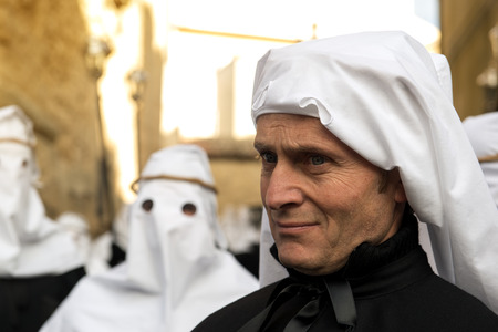 Enna, Sicily, Italy - March 25, 2016: ? religious Parade, in town of Enna, Sicily for the Holy Easter. Every year for Holy Friday is staged the passion of Christ in a procession which lasts through the afternoon and night. Sicilian people is very devoted
