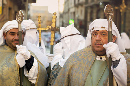 Enna, Sicily, Italy - March 25, 2016: – religious Parade, in town of Enna, Sicily for the Holy Easter. Every year for Holy Friday is staged the passion of Christ in a procession which lasts through the afternoon and night. Sicilian people is very devoted