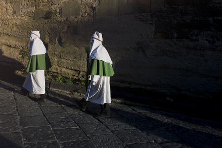 Enna, Sicily, Italy - March 25, 2016: – religious Parade, in town of Enna, Sicily for the Holy Easter which lasts through the afternoon and night.