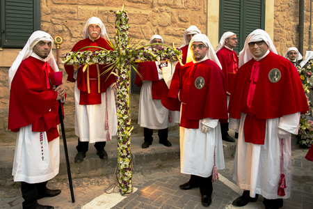 processions: Enna, Sicily, Italy - March 25, 2016: – religious Parade, in town of Enna, Sicily for the Holy Easter which lasts through the afternoon and night.