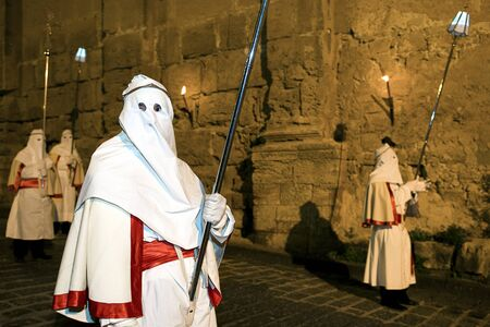 Enna, Sicily, Italy March 25, 2016– religious Parade, in town of Enna, Sicily for the Holy Easter which lasts through the afternoon and night. Éditoriale