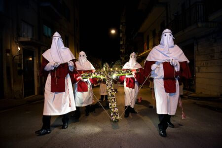Enna, Sicily, Italy March 25, 2016 – religious Parade, in town of Enna, Sicily for the Holy Easter which lasts through the afternoon and night.