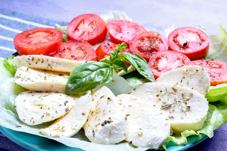caprese salad with mozzarella lettuce tomato and basil the colors of the italian tricolor flag traditional dish italy appetizer