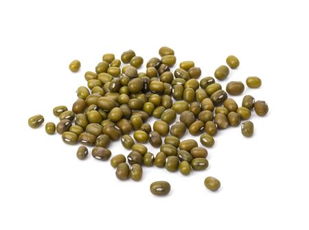 Whole dried mung beans isolated on a white background. dietary useful healthy food for preserving youth and weight loss