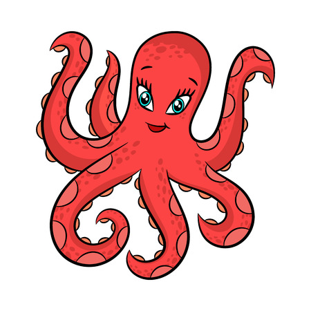 Funny cartoon octopus. Vector illustration Isolated on white background.