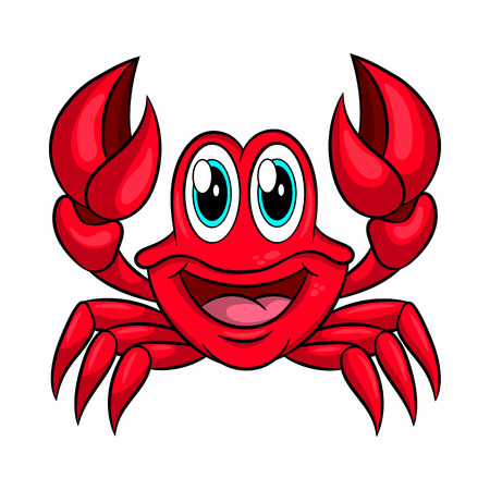 Funny cartoon crab. Vector illustration Isolated on white background.