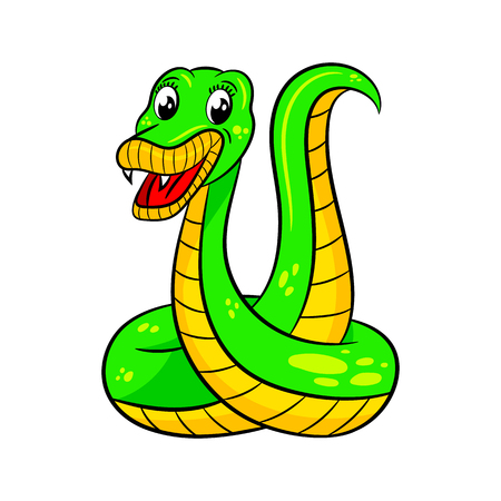 Cute cartoon snake. Vector illustration Isolated on white background. Illustration