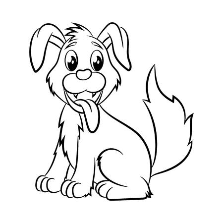개. 어린이와 어린이를위한 색칠 공부 디자인. 벡터 일러스트 레이 션 흰색 배경에 고립. 일러스트