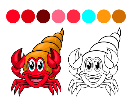 Hermit crab in the shell. Coloring book design for kids and children. Vector illustration Isolated on white background.