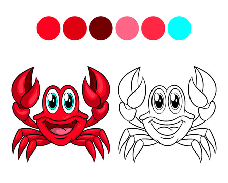 Crab. Coloring book design for kids and children. Vector illustration Isolated on white background.