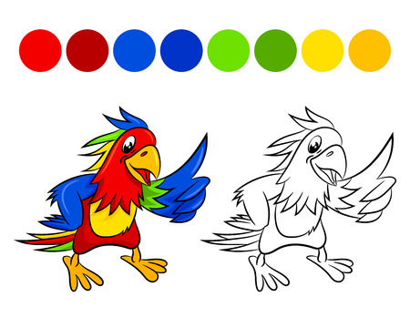 Parrot. Coloring book design for kids and children. Vector illustration Isolated on white background. Illustration