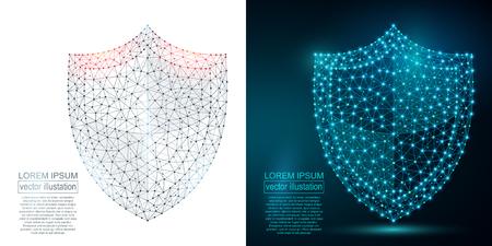 多角形のセキュリティ シールドの抽象的なイメージ。