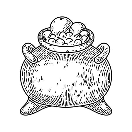 Halloween witch cauldron isolated on white background. Old vintage style hand drawing engraved. Design element for banner, menu, poster, web.