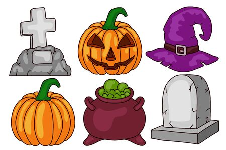 Halloween set. Scary pumpkin, cauldron and witch hat, gravestone. Isolated on white background. Design element for banner, menu, poster, web.