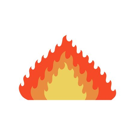 Fire flame icon in cartoon and flat style. Isolated object on white background. Vector illustration.