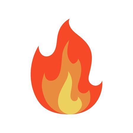 Icône de flamme de feu en dessin animé et style plat. Objet isolé sur fond blanc. Illustration vectorielle.