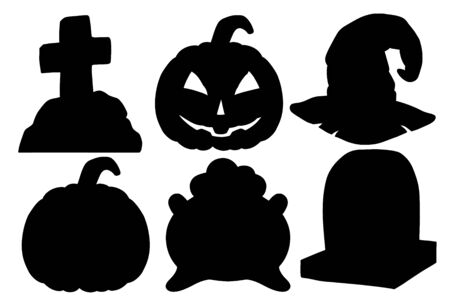 Halloween silhouette set. Scary pumpkin, cauldron and witch hat, gravestone. Isolated on white background. Design element for banner, menu, poster, web.