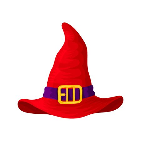 Red headdresses of wizards, magicians, witches of different colors and shapes. Isolated object on a white background. Vector illustration. Ilustração