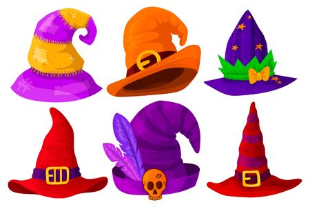 Set of hats of wizards, magicians, witches of different colors and shapes. Isolated object on a white background. Vector illustration.