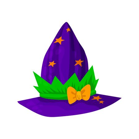 Violet headdresses of wizards, magicians, witches of different colors and shapes. Isolated object on a white background. Vector illustration. Ilustração