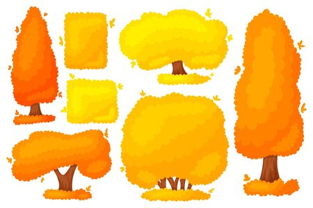 Set of colorful autumn yellow-orange tree bush. Beautiful design elements of a garden, park, nature, forest, landscape. Cartoon flat silhouette. Vector illustration isolated on a white background.