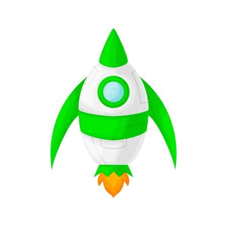Launch of a green space rocket with a porthole. Cartoon and flat style. Vector illustration isolated on white background.