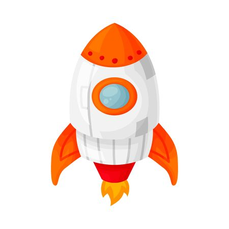 Launch of an orange space rocket with a porthole. Cartoon and flat style. Vector illustration isolated on white background.