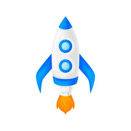 Launch of a blue space rocket with a porthole. Cartoon and flat style. Vector illustration isolated on white background. Stock Illustratie