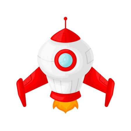 Launch of a red space rocket with a porthole. Cartoon and flat style. Vector illustration isolated on white background. Stock Illustratie