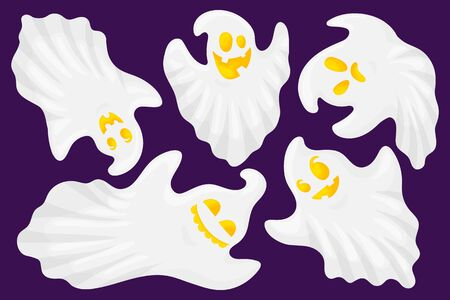 Set of ghost characters. A creepy white spirit flies with a scary and sweet face. Cartoon and flat style. Vector illustration isolated on white background. Ilustrace