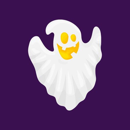 Ghost characters. A creepy white spirit flies with a scary and sweet face. Cartoon and flat style. Vector illustration isolated on white background.