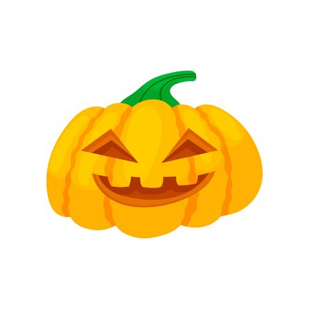 Colorful halloween pumpkins with funny faces. Cartoon and flat style. Vector illustration isolated on white background.