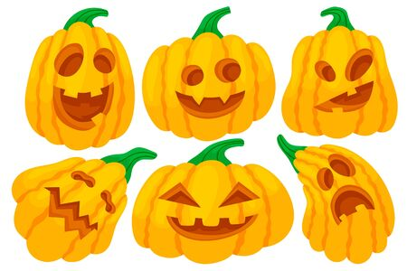 Set of colorful halloween pumpkins with funny faces. Cartoon and flat style. Vector illustration isolated on white background.