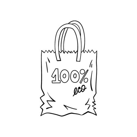Doodle eco bag made of fabric and paper. Vettoriali