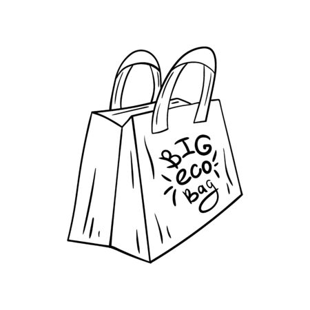 Doodle Öko-Tasche aus Stoff und Papier. Vektorgrafik