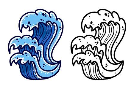 Sea wave hand drawing old school tattoo.