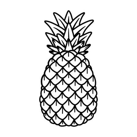 Pineapple hand drawing old school tattoo.