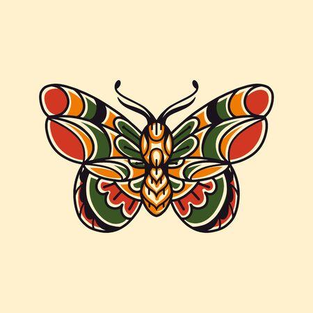 Moth hand drawing old school tattoo. Design element for poster, card, banner. Illusztráció