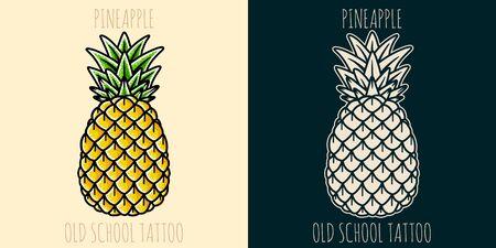 Pineapple hand drawing old school tattoo. Design element for poster, card, banner. Illusztráció