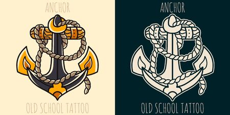 Anchor hand drawing old school tattoo. Design element for poster, card, banner.