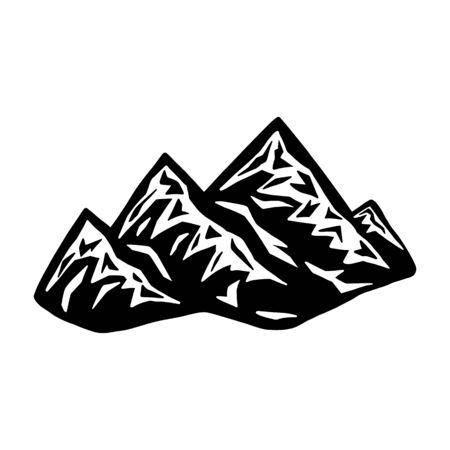 Mountain landscape silhouette icon. Design element for poster, card, banner.