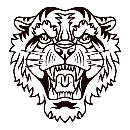 Stile retrò disegnato a mano della vecchia scuola della tigre. Elemento di design per poster, biglietti, banner. Illustrazione vettoriale. Vettoriali