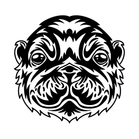 Faccia di lontra. Idea di design per la stampa di t-shirt in stile vintage monocromatico. Elemento di design per poster, biglietti, banner. Illustrazione vettoriale.